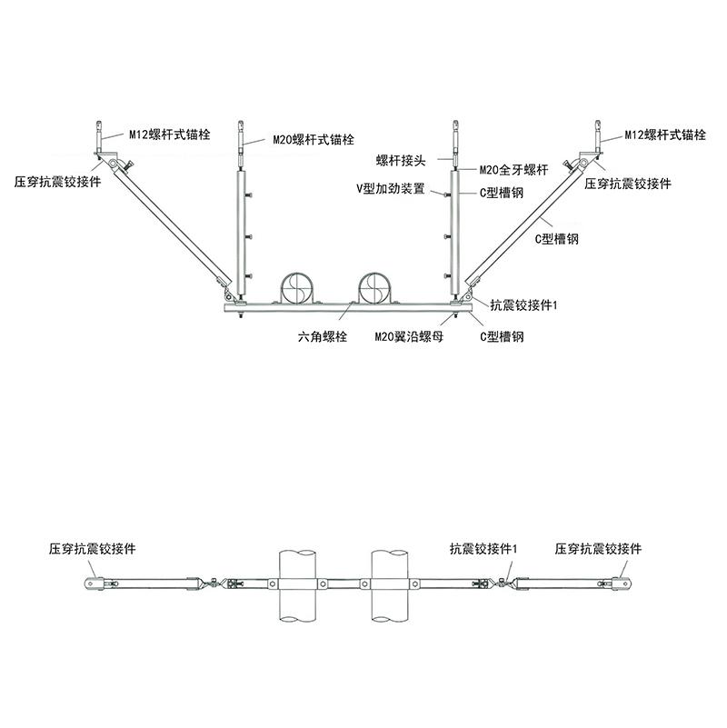 水管组合侧向支撑(正俯视图)
